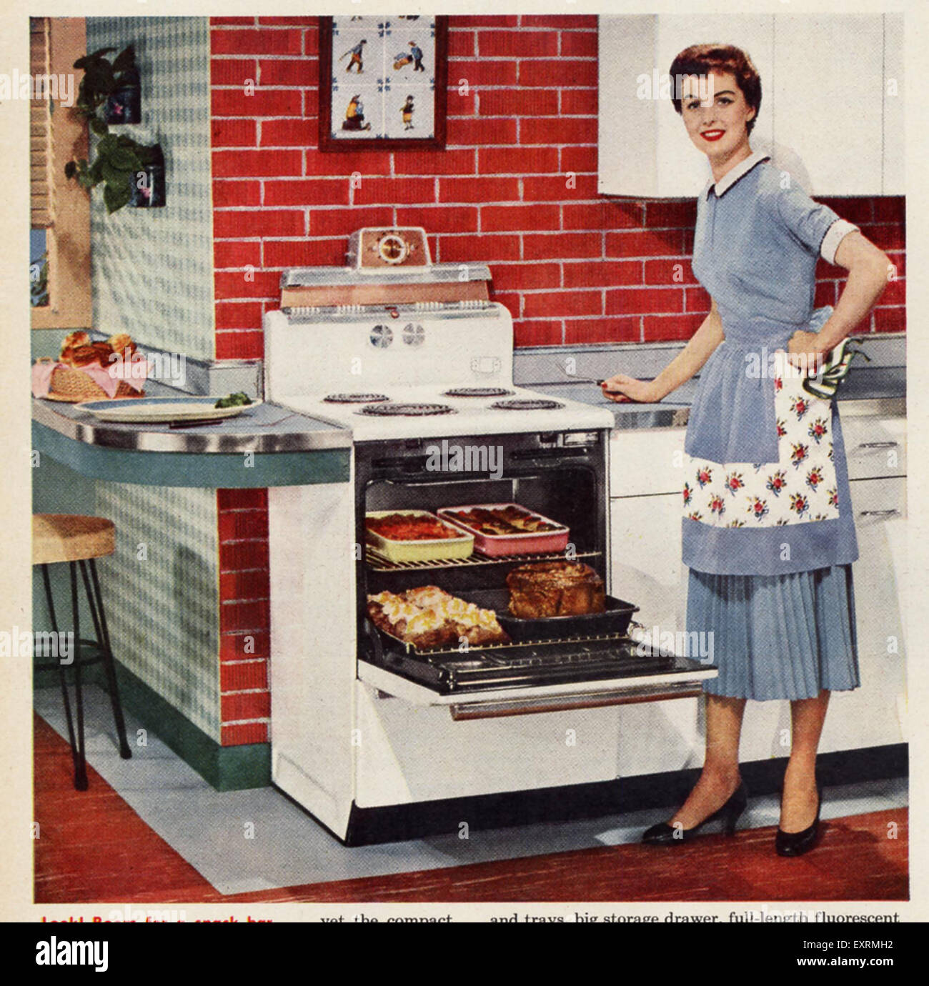 Messy Kitchen Meme: 1950S USA Housewife Cooking Magazine Advert (detail Stock