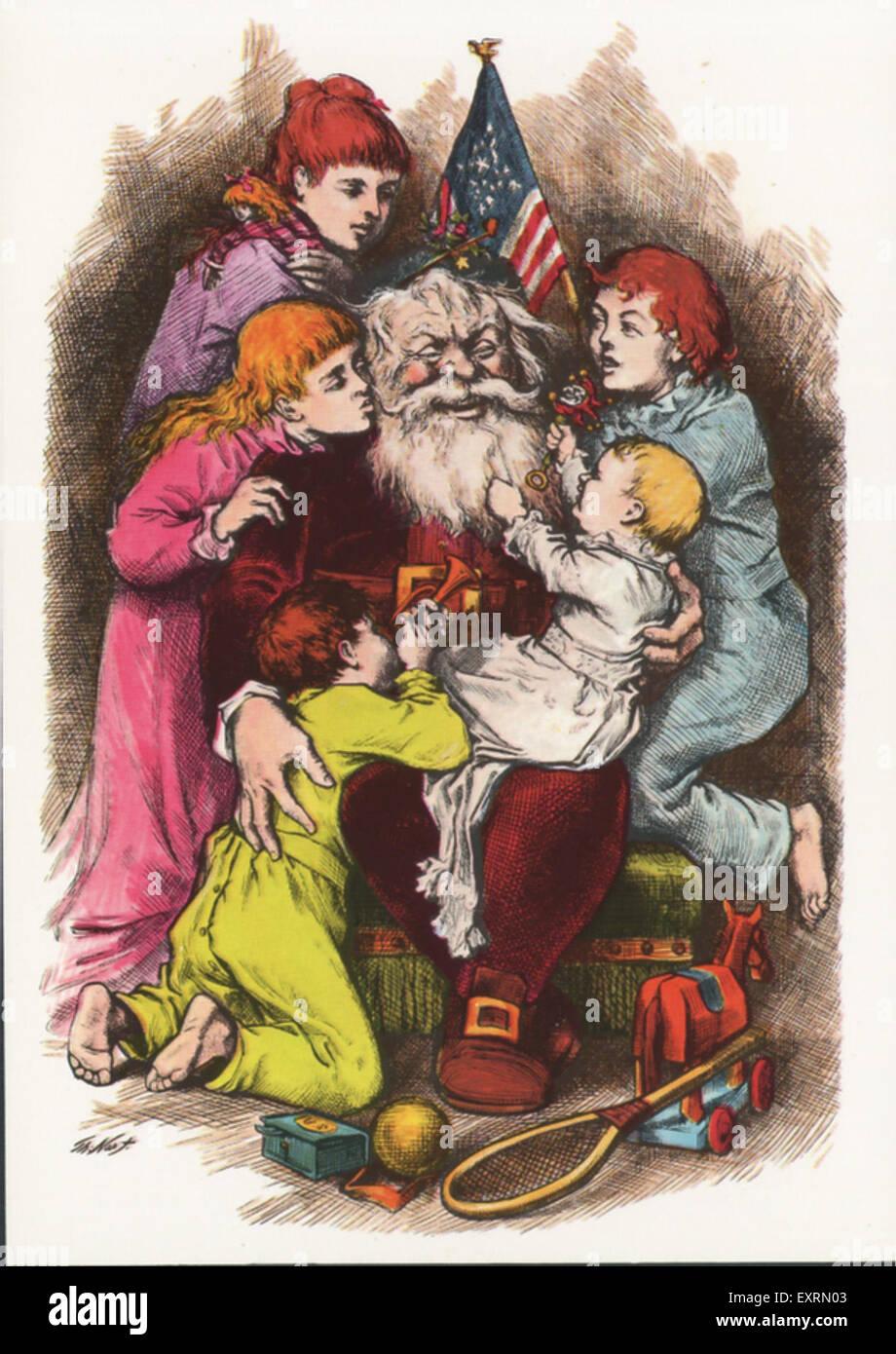 1900s USA Christmas Greetings Card - Stock Image