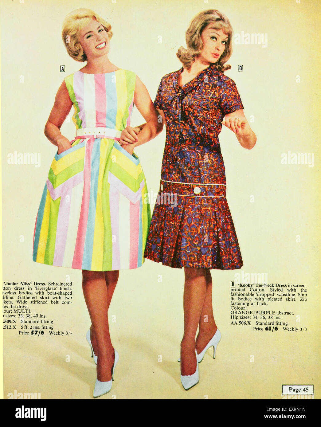 feab7d3694 1960s UK Womens Fashion Catalogue/ Brochure Plate - Stock Image