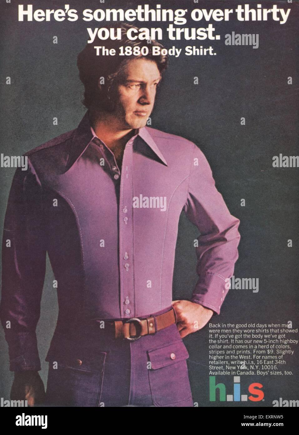 1970s UK his Magazine Advert - Stock Image