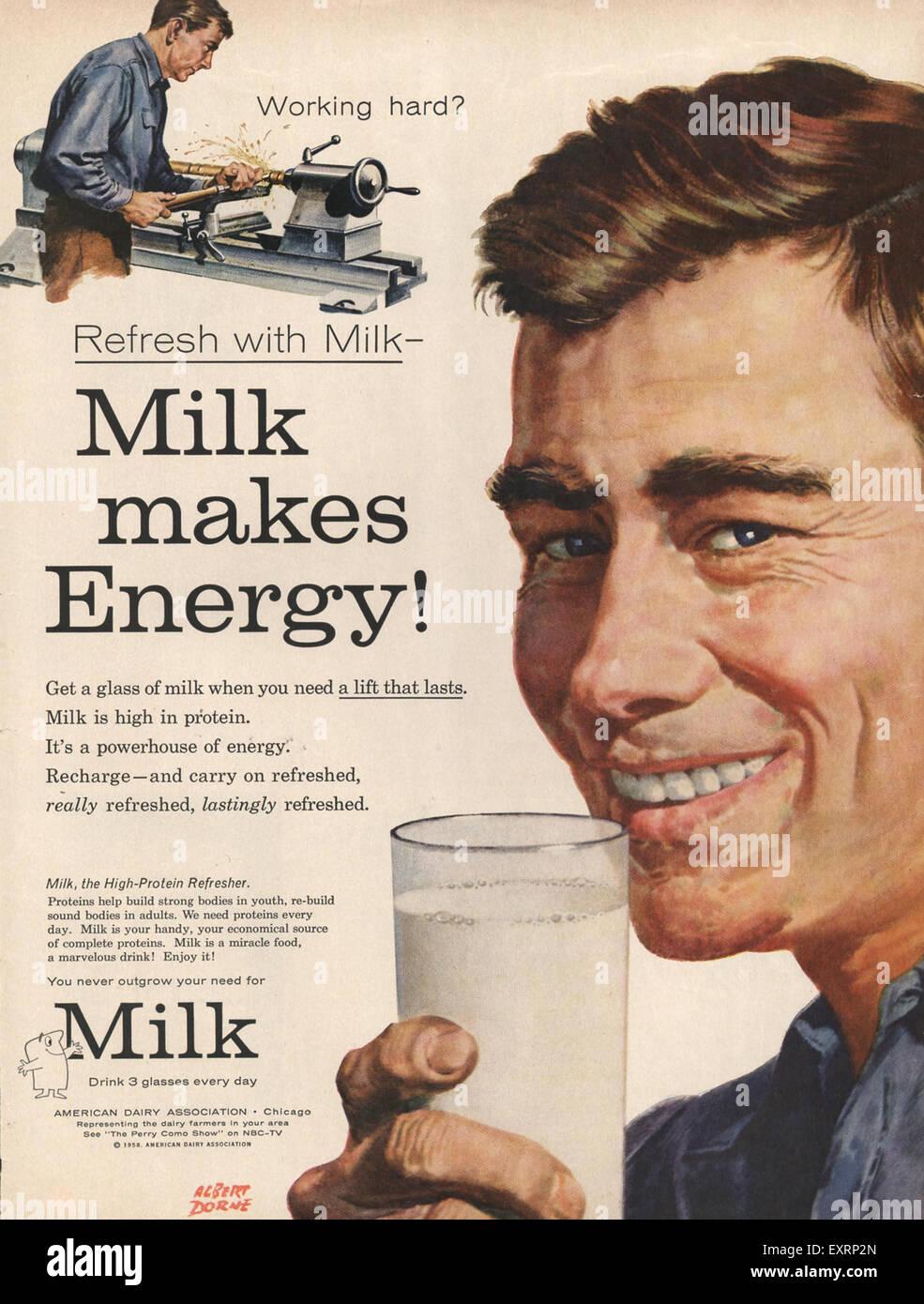 1950s USA Milk Magazine Advert - Stock Image
