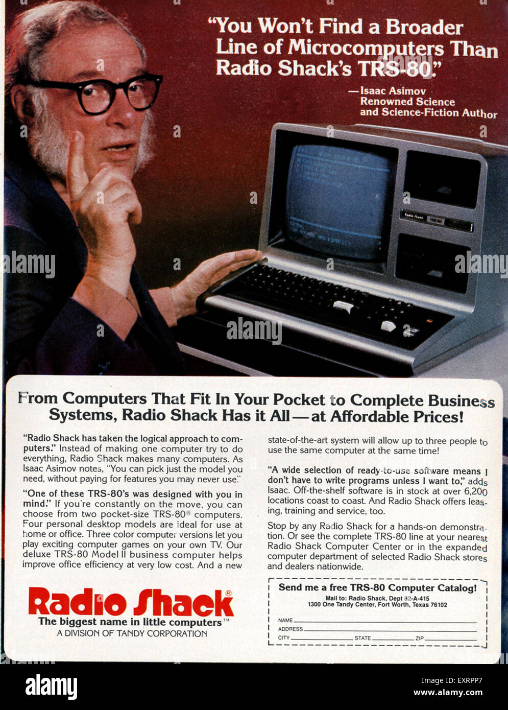 1980s USA Radio Shack Magazine Advert - Stock Image