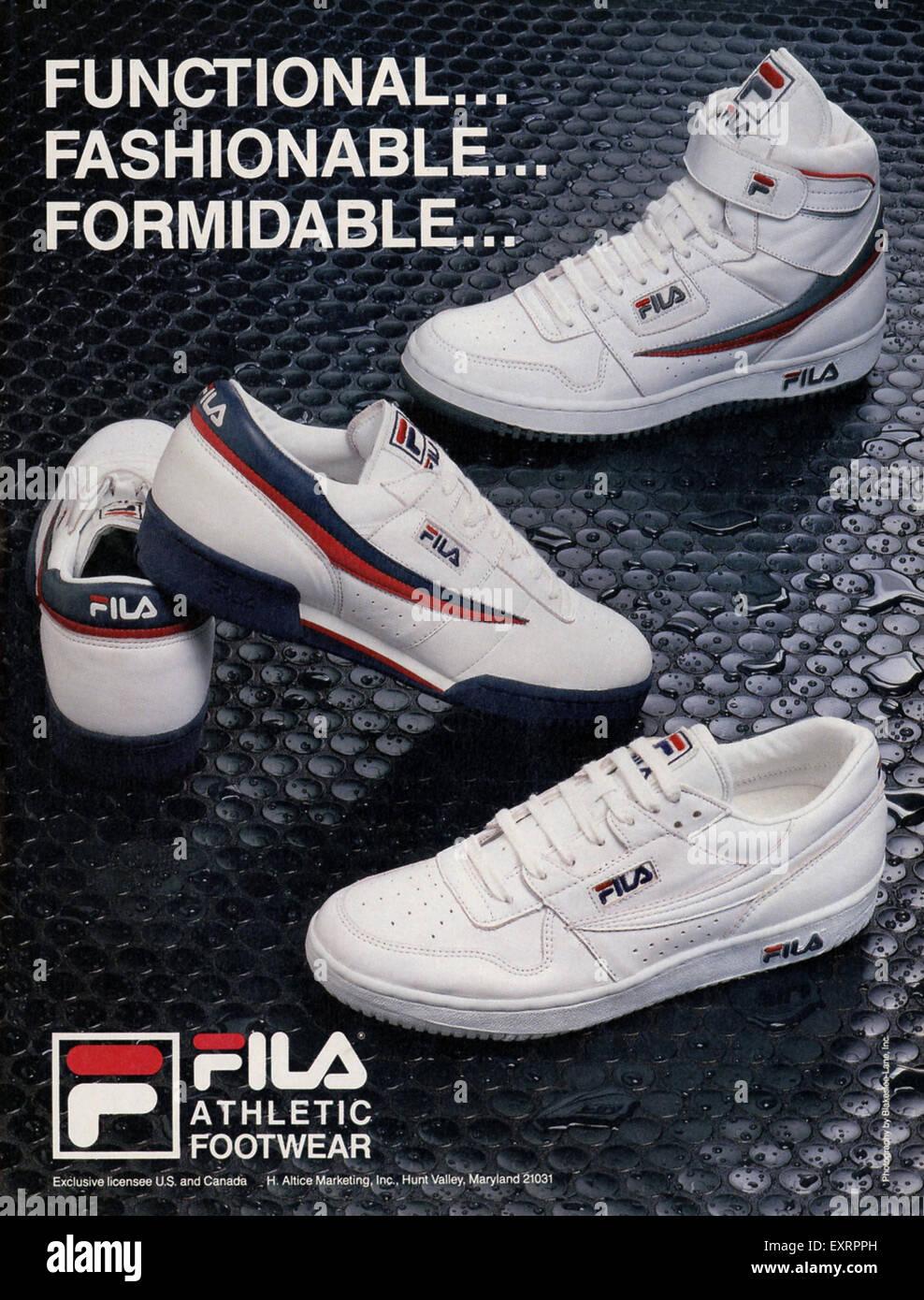 1980s USA Fila Magazine Advert - Stock Image