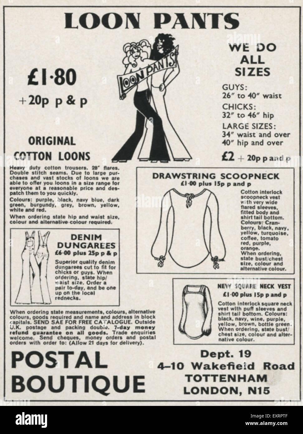 1960s UK Postal Boutique Magazine Advert - Stock Image