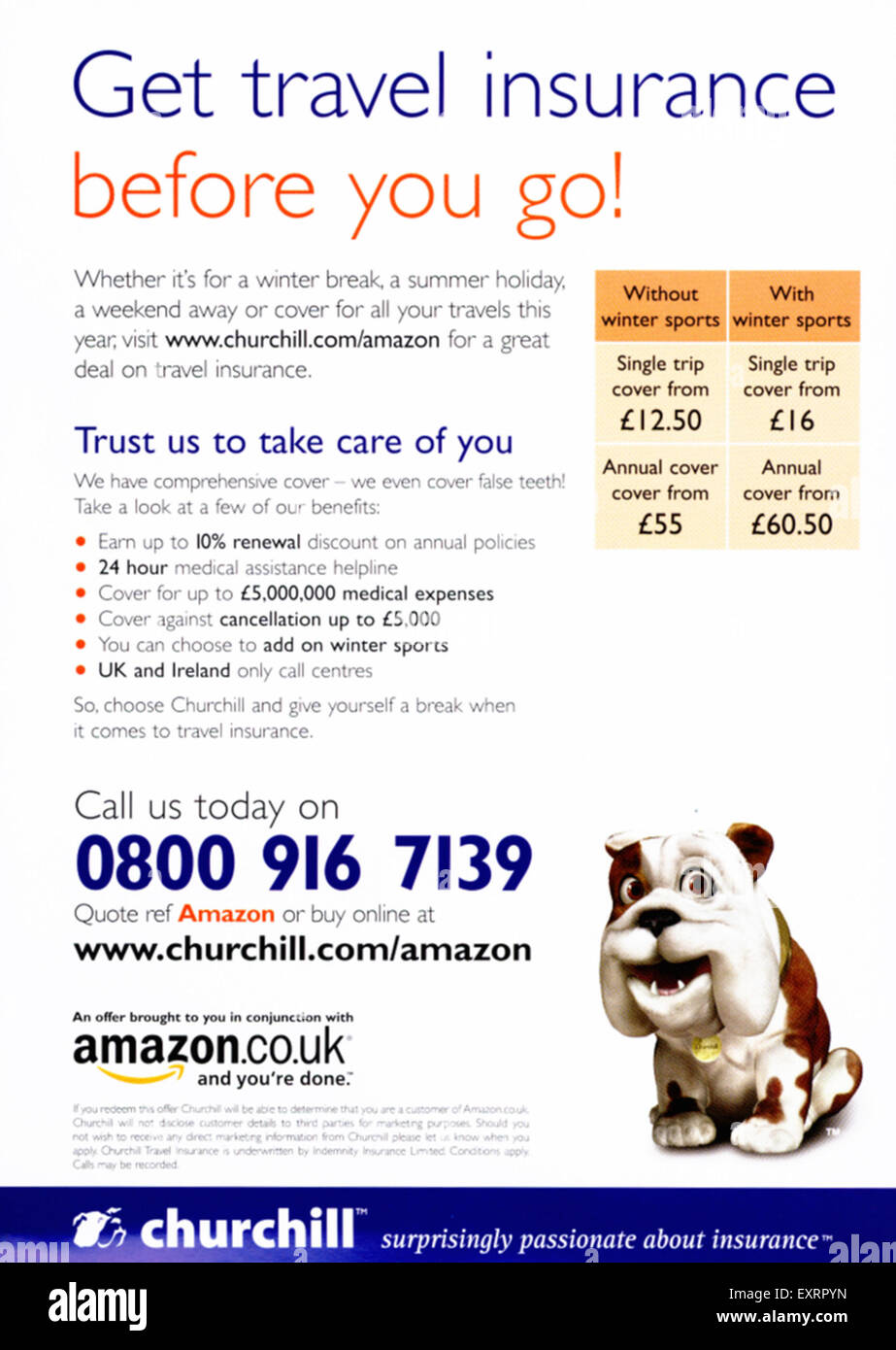 2000s UK Churchill Magazine Advert - Stock Image