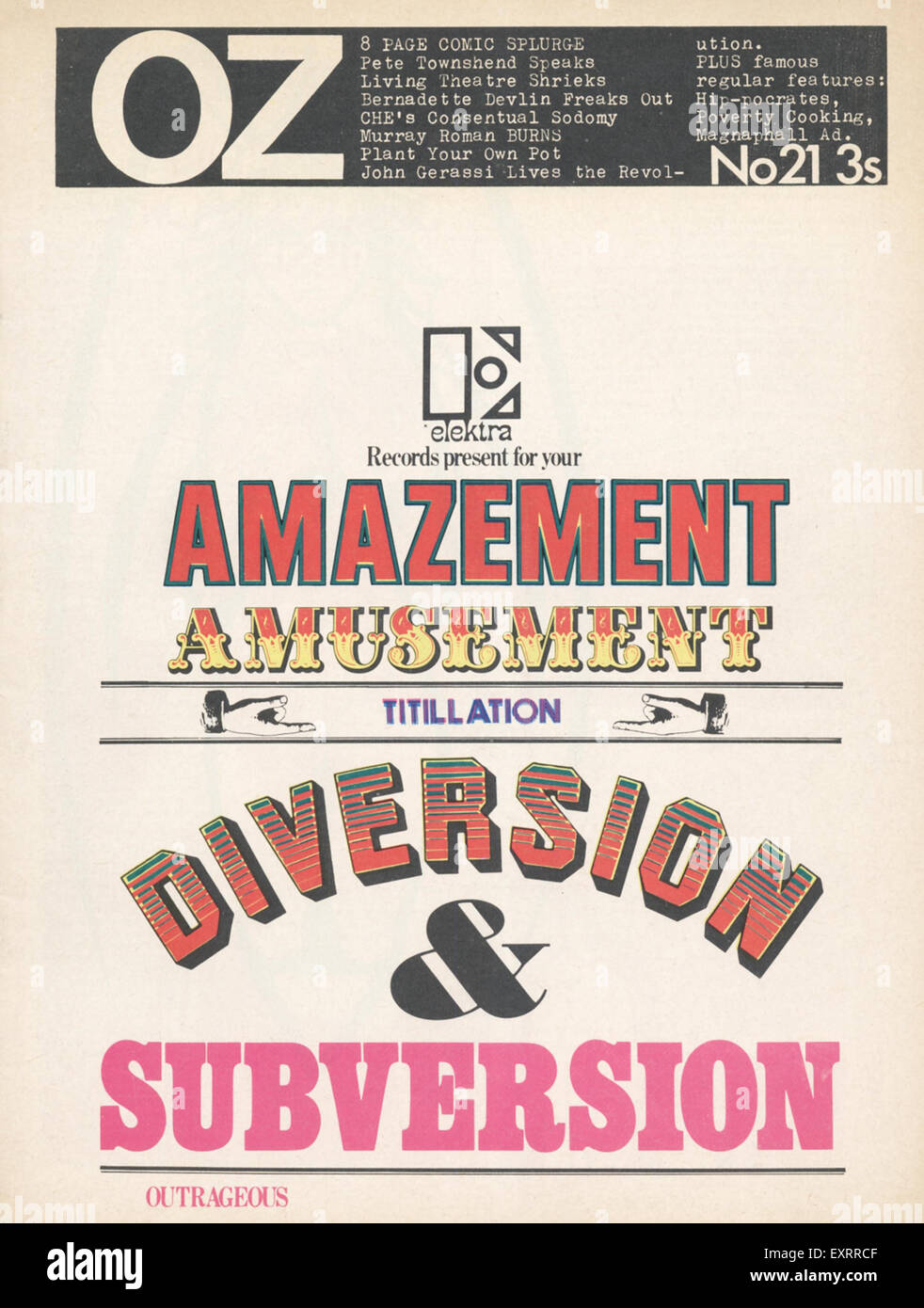 1960s UK Oz  no 21 Magazine Cover - Stock Image