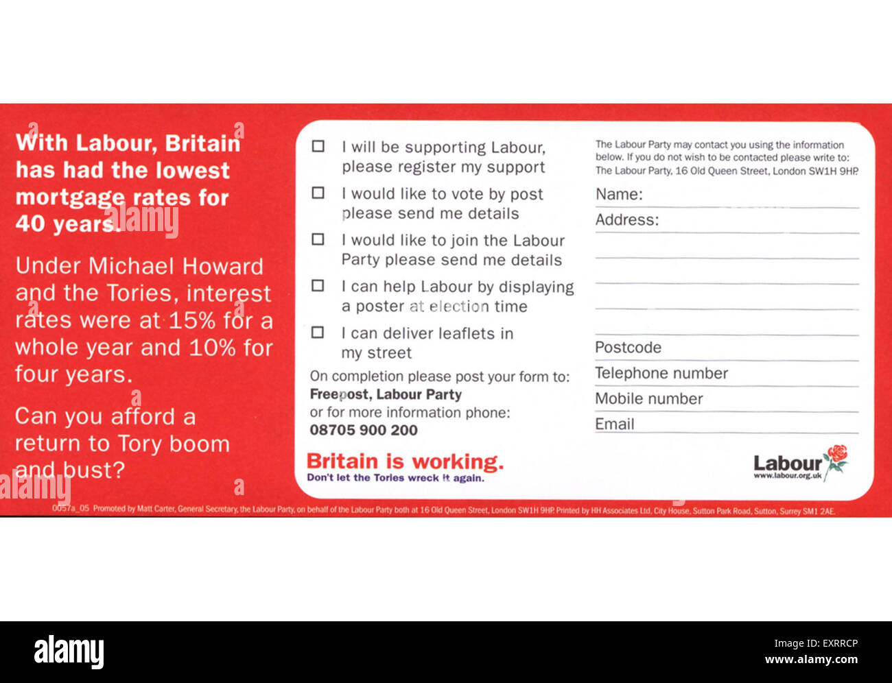 2000s UK The Labour Party Leaflet/  Flyer - Stock Image