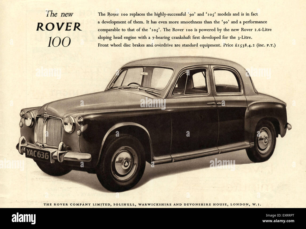 1960s UK Rover 100 Magazine Advert - Stock Image