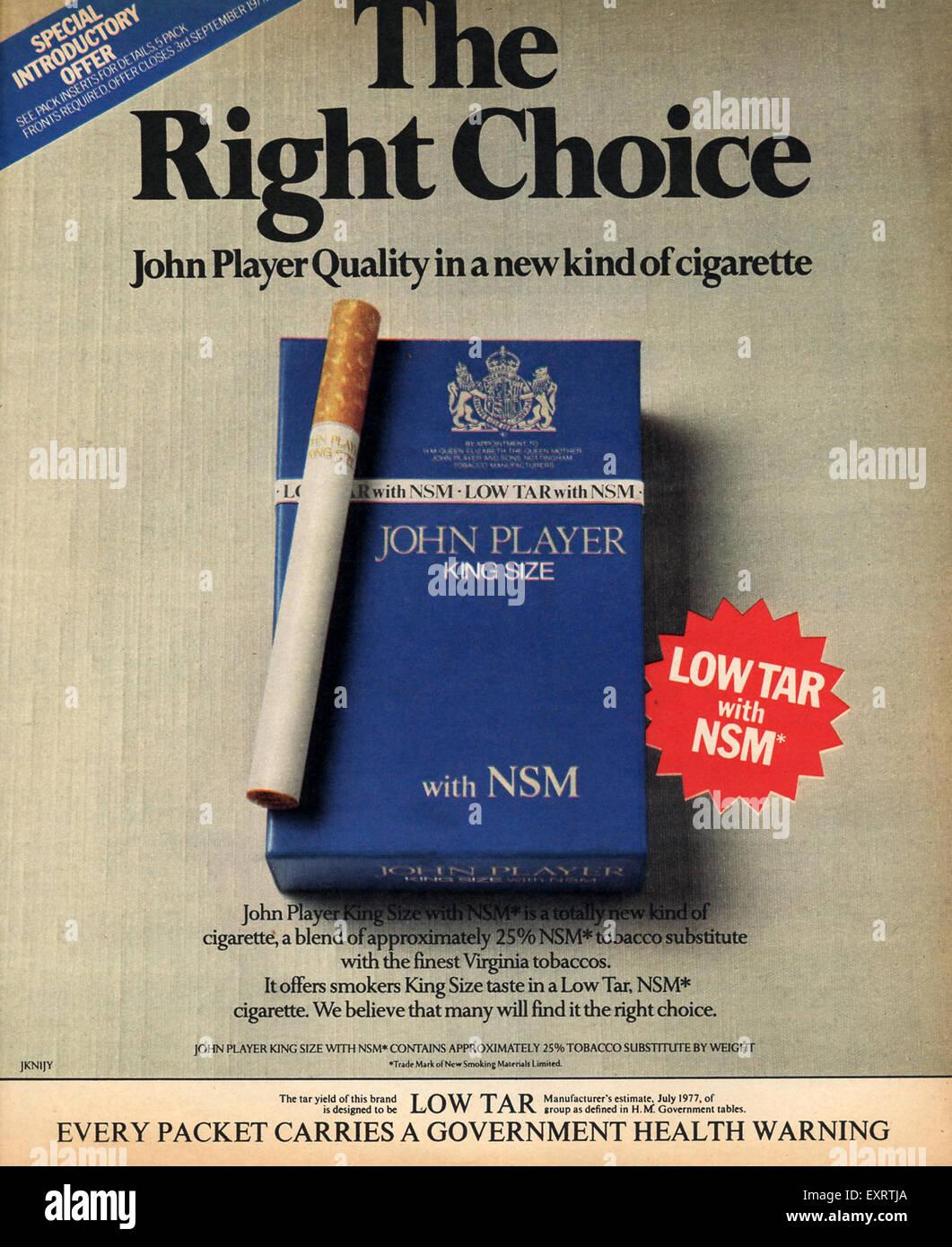 1970s UK John Player Magazine Advert - Stock Image