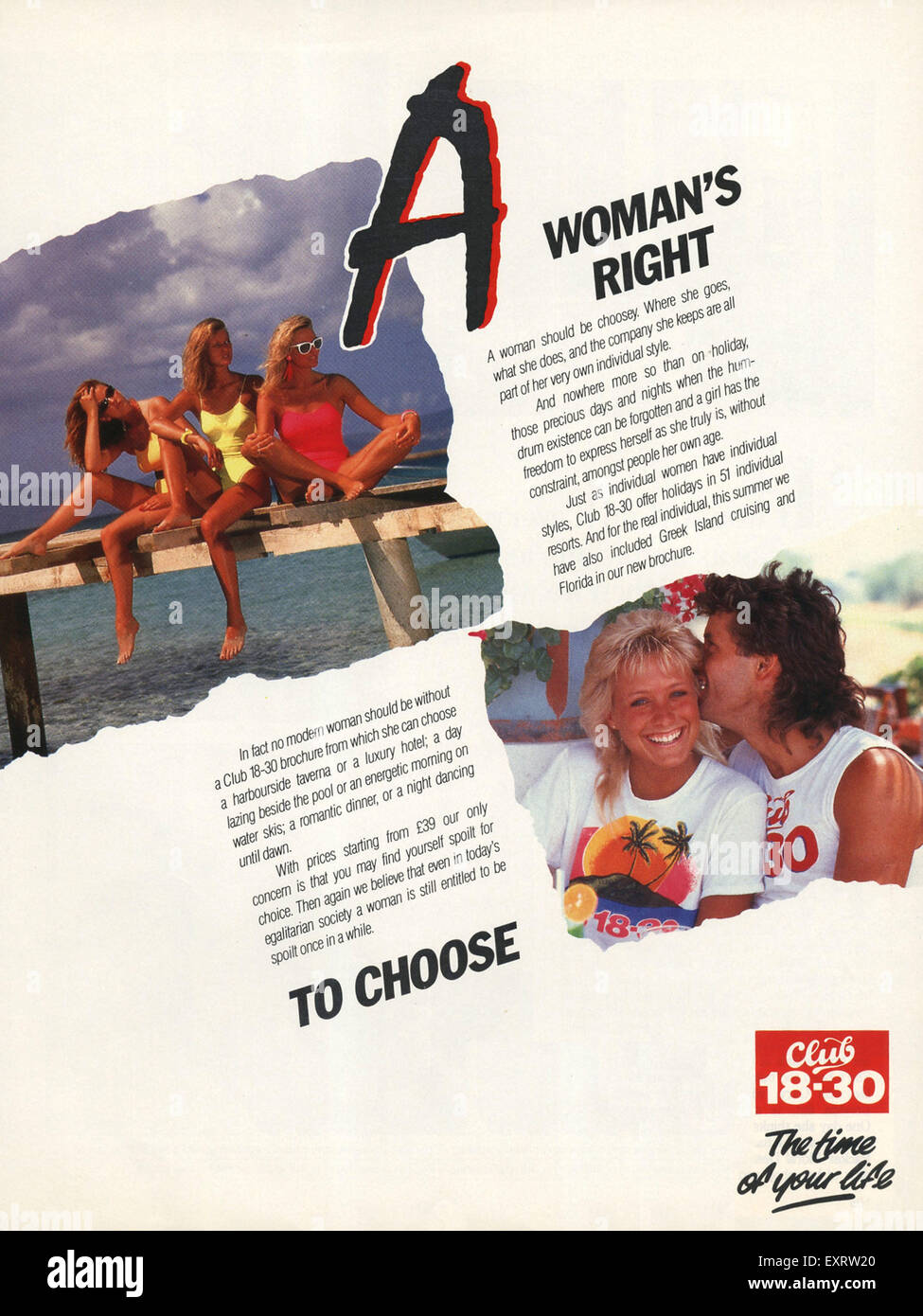1980s UK Club 18-30 Magazine Advert - Stock Image