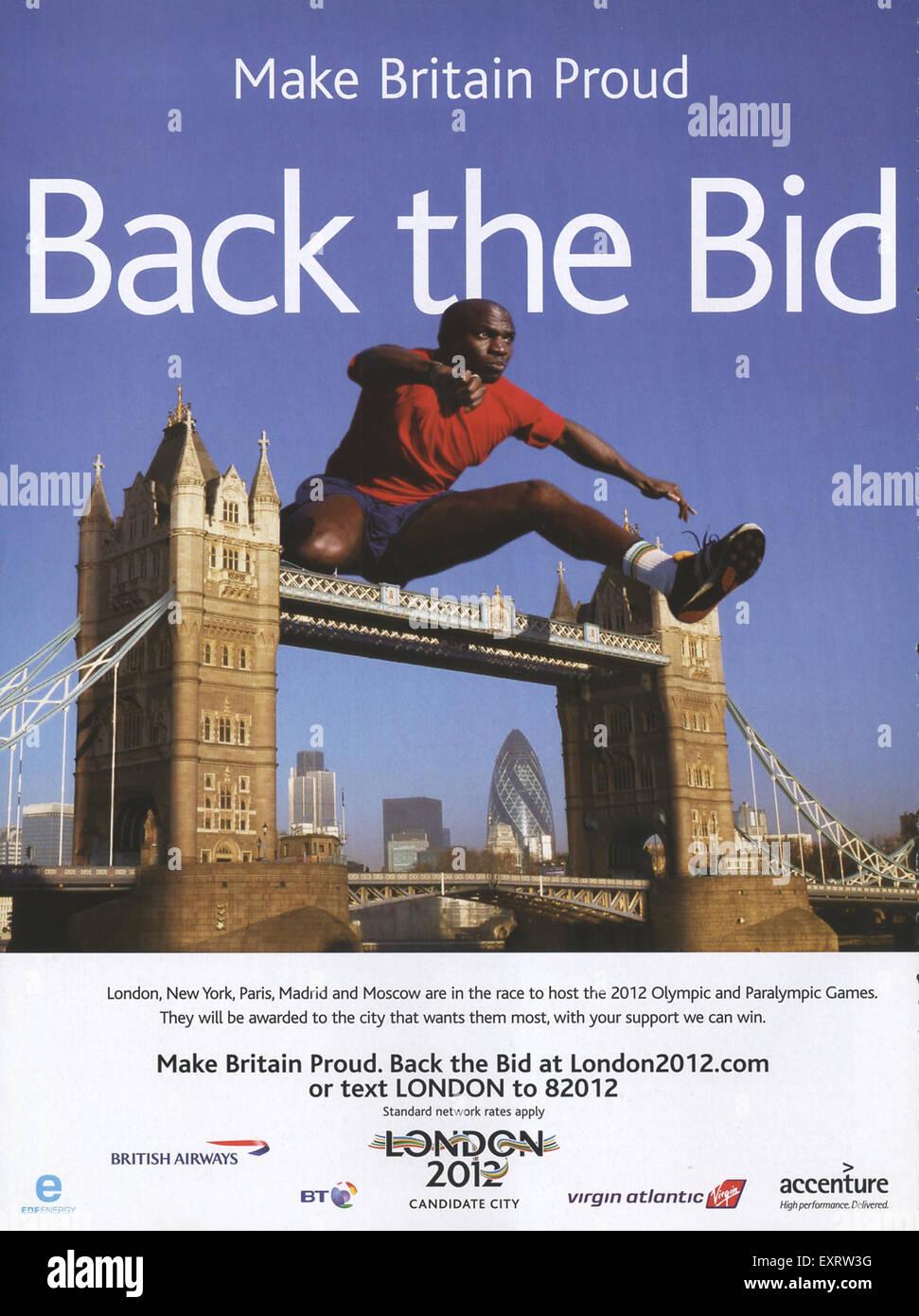 2000s UK Back the bid London 2012 Magazine Advert - Stock Image