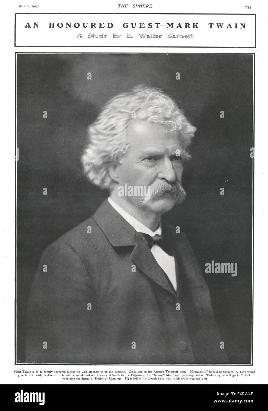 1900s UK Mark Twain Magazine Plate - Stock Image