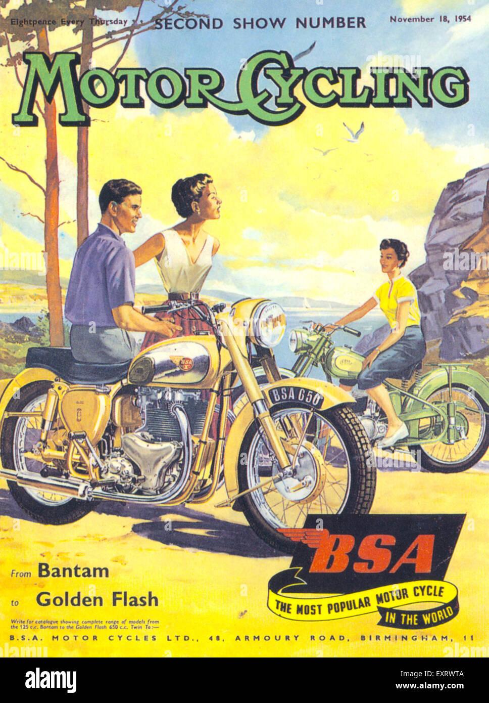 1950s UK Motor Cycling/ BSA Magazine Cover - Stock Image