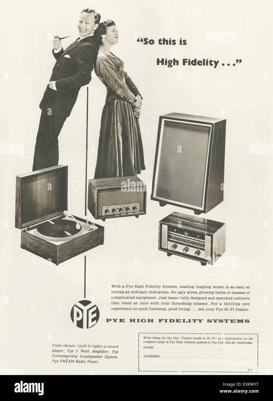 1950s UK Pye Hi-Fi Magazine Advert Stock Photo: 85347787 - Alamy