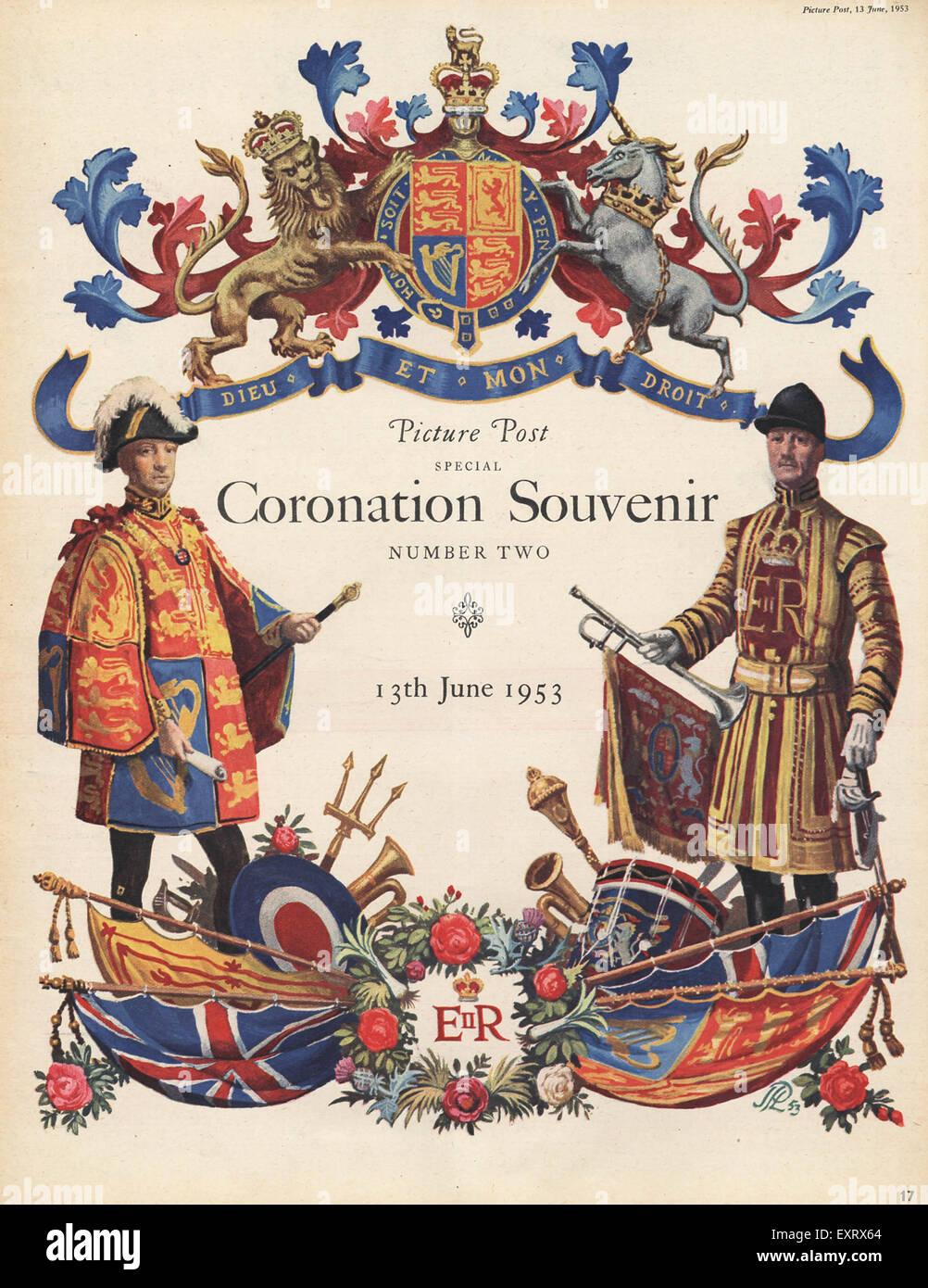 1950s UK Coronation Magazine Cover - Stock Image