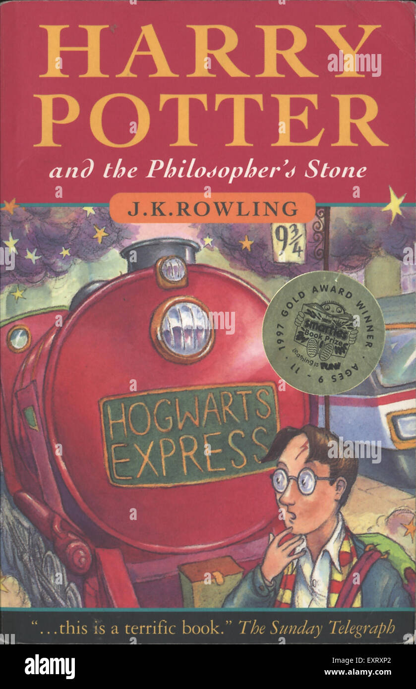 1990s UK Harry Potter and the Philosopher's Stone by J.K. Rowling Book Cover - Stock Image