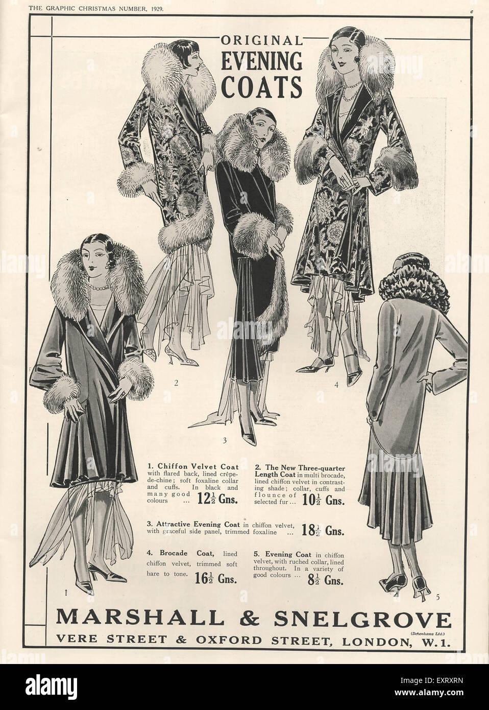 1920s UK Marshall and Snelgrove Magazine Advert - Stock Image