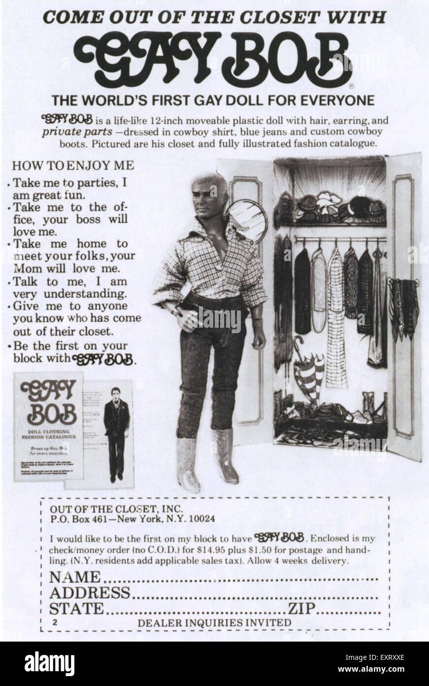 1970s USA Gay Bob Magazine Advert - Stock Image