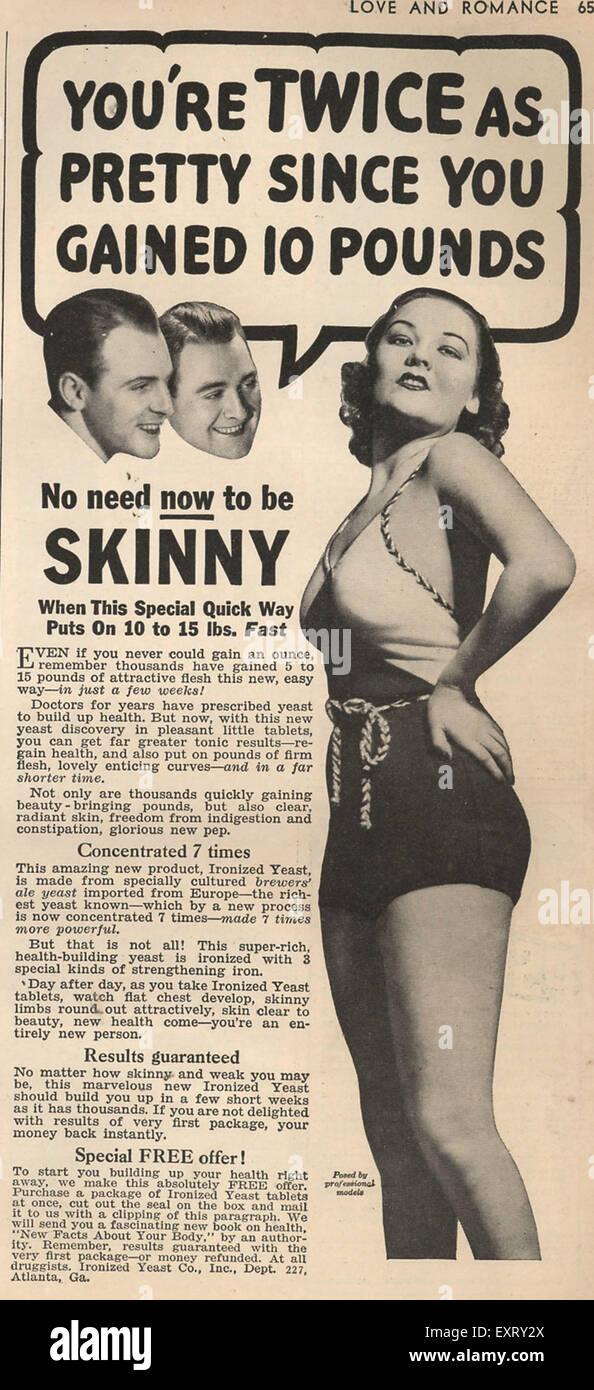 1930s USA Skinny Magazine Advert - Stock Image