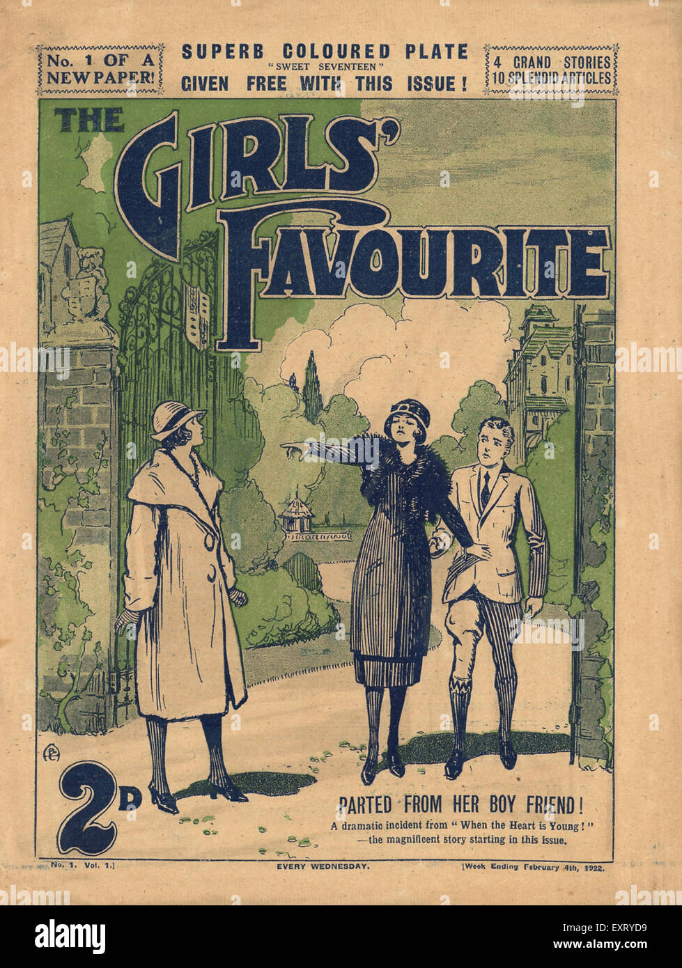 1920s UK The Girls' Favourite Magazine Cover - Stock Image