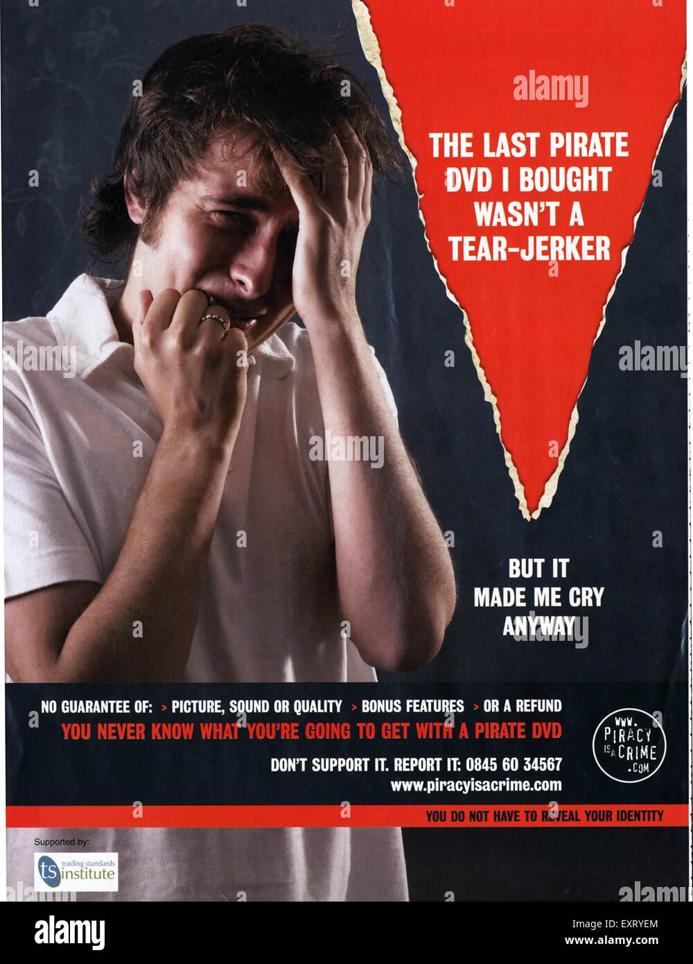 2000s UK Piracy is a Crime Magazine Advert - Stock Image