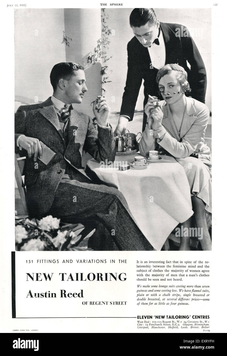 1930s Uk Austin Reed Magazine Advert Stock Photo Alamy