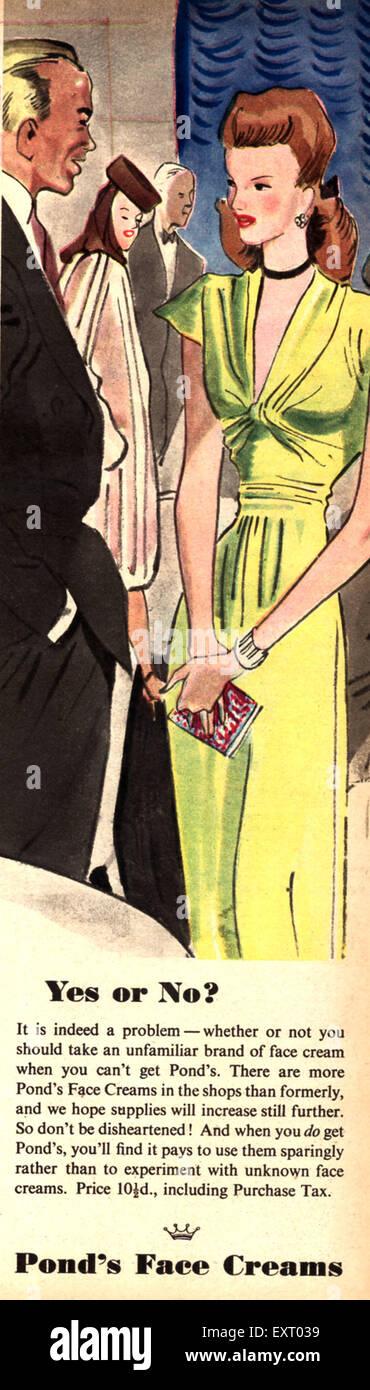 1940s UK Pond's - Stock Image