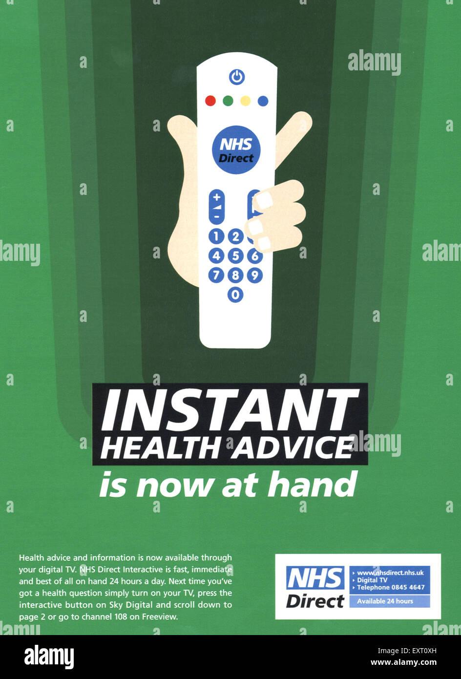 2000s UK NHS Direct Magazine Advert - Stock Image