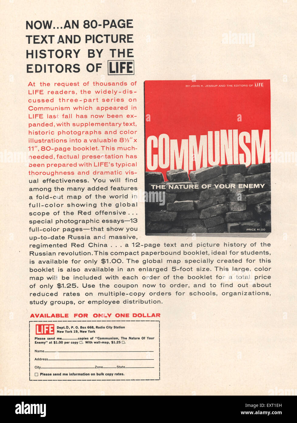 1960s USA Communism Magazine Advert - Stock Image