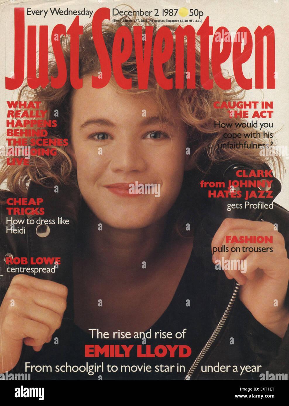 1980s UK Just Seventeen Magazine Cover - Stock Image