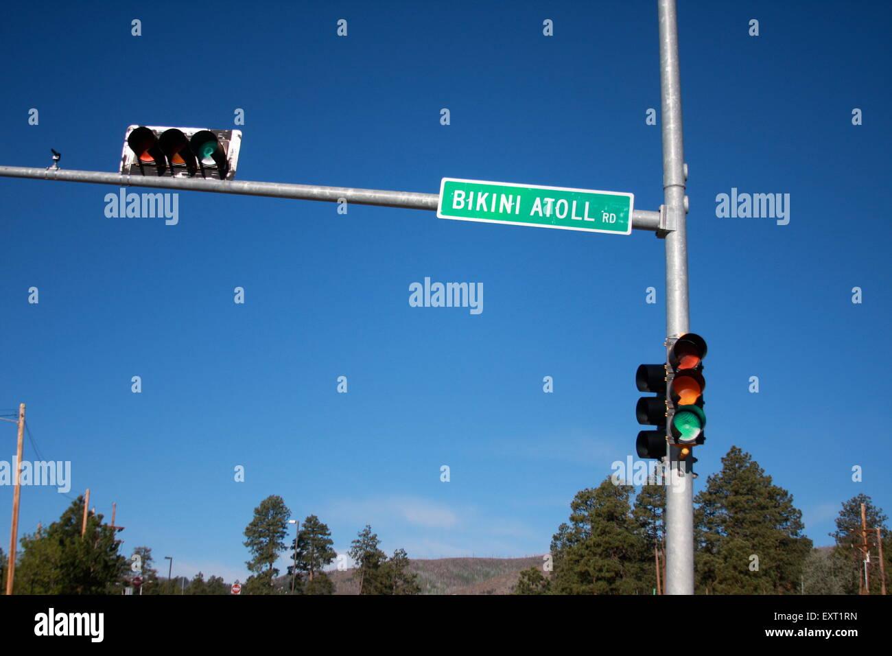 Bikini Atoll road sign in New Mexico USA - Stock Image