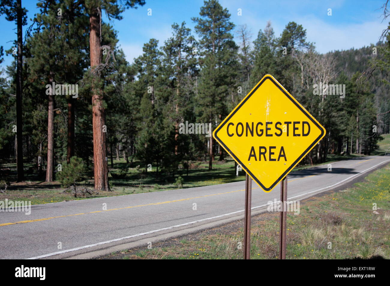 Congested area road sign in New Mexico USA - Stock Image