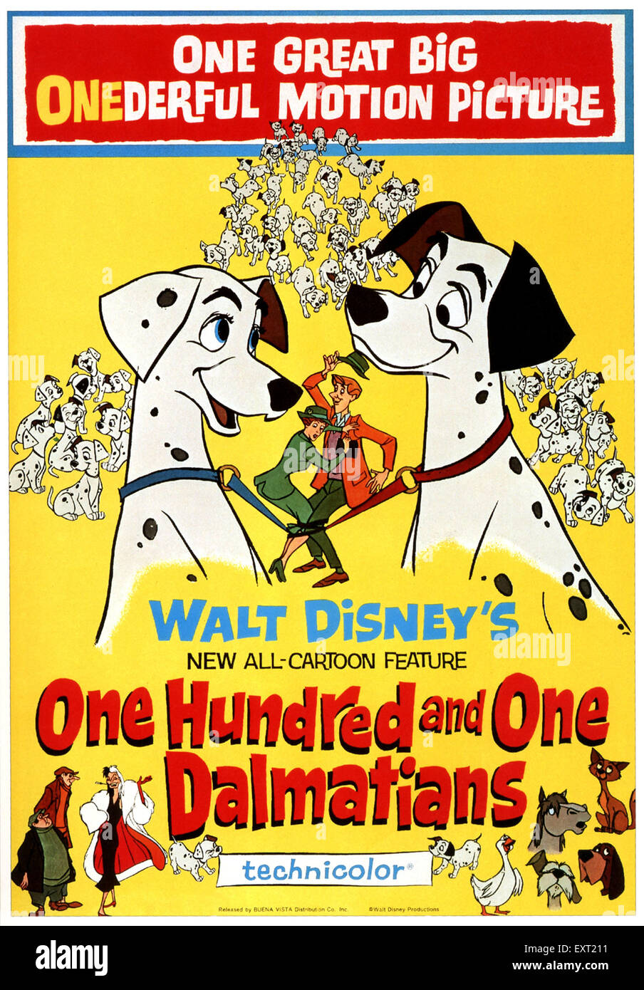 1960s USA Walt Disney's One Hundred and One Dalmations Film Poster - Stock Image