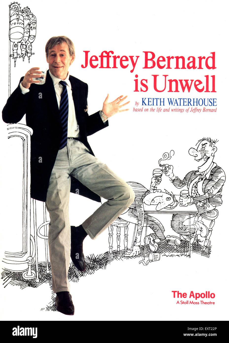 1980s UK Jeffrey Bernard is Unwell Poster - Stock Image