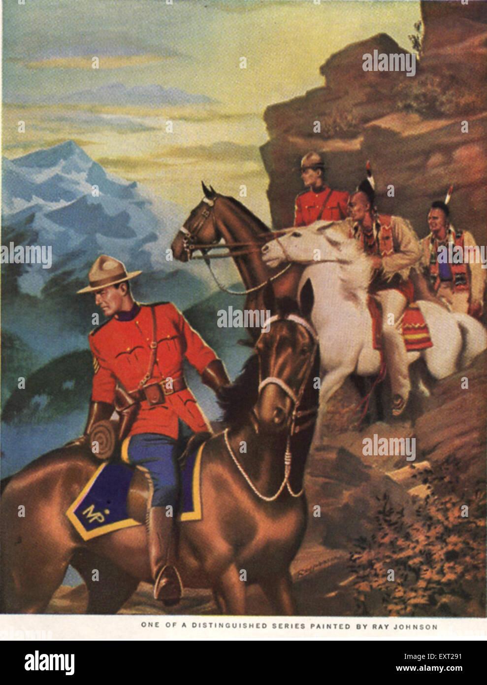 1940s USA Royal Canadian Mounted Police Magazine Advert (detail) - Stock Image