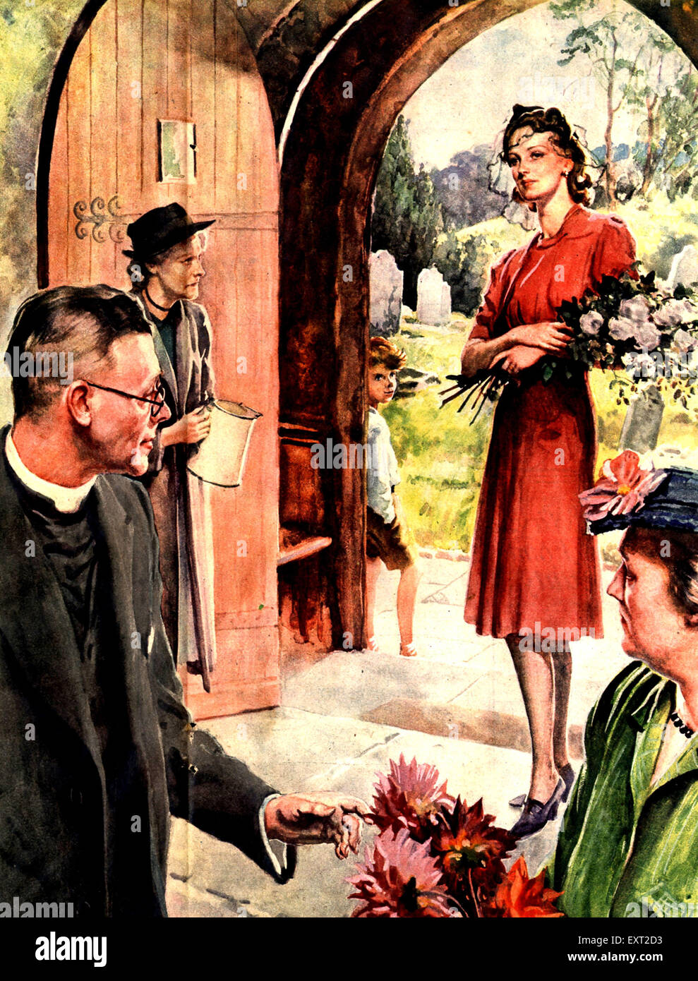 1940s UK Church  illustration Magazine Plate - Stock Image