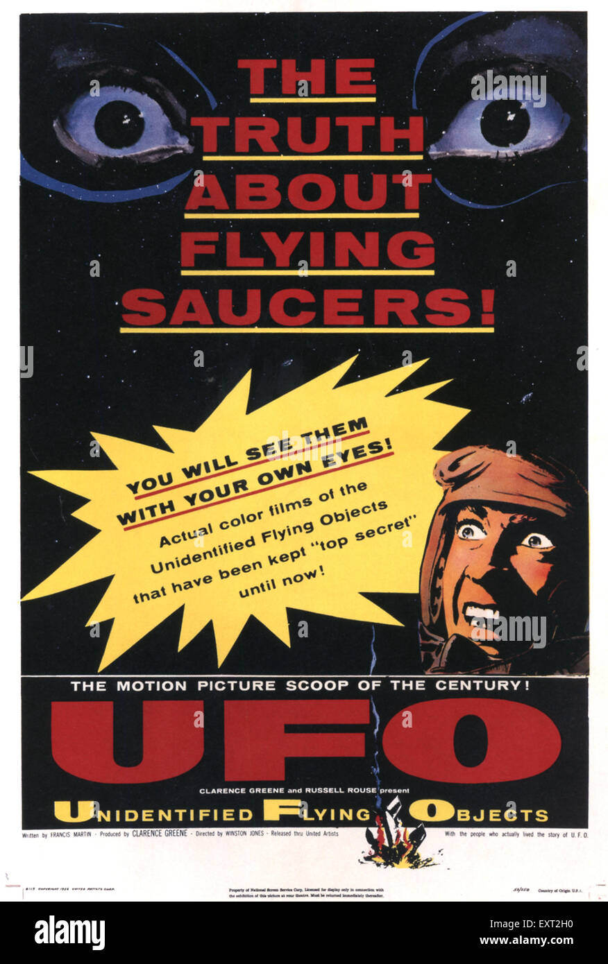 1940s USA Unidentified Flying Objects: The True Story Of Flying Saucers / UFO Film Poster - Stock Image