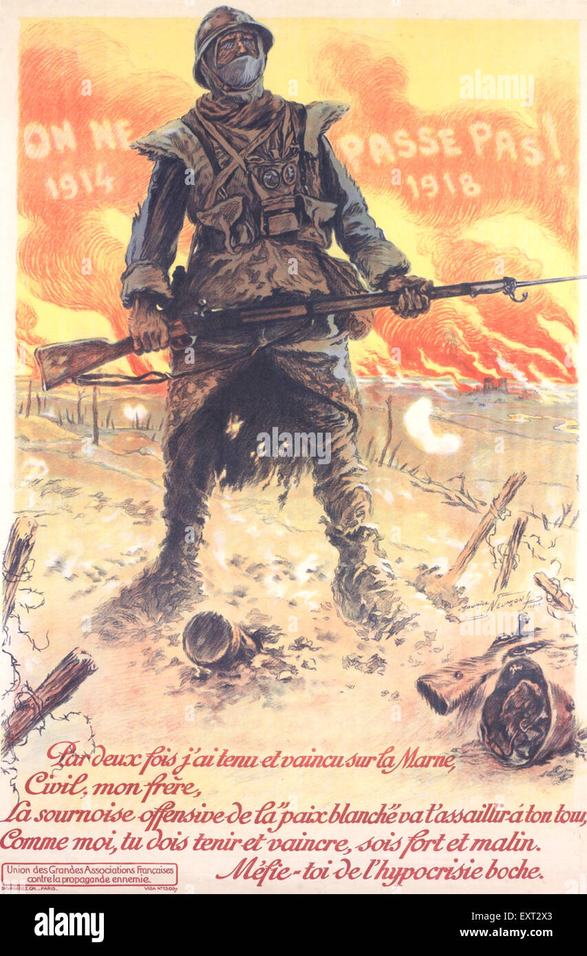 1910s France World War One Poster - Stock Image