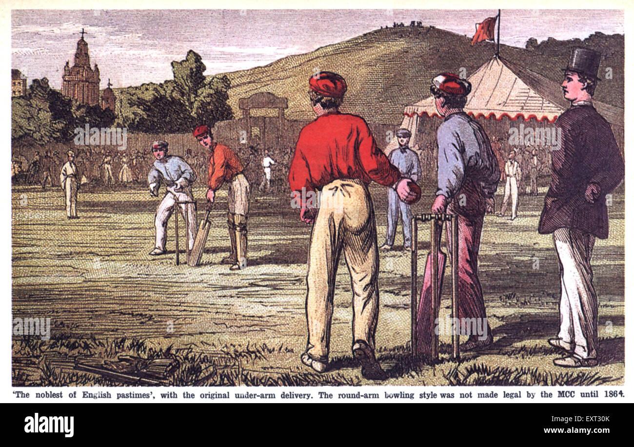 1860s UK Cricket Magazine Plate - Stock Image