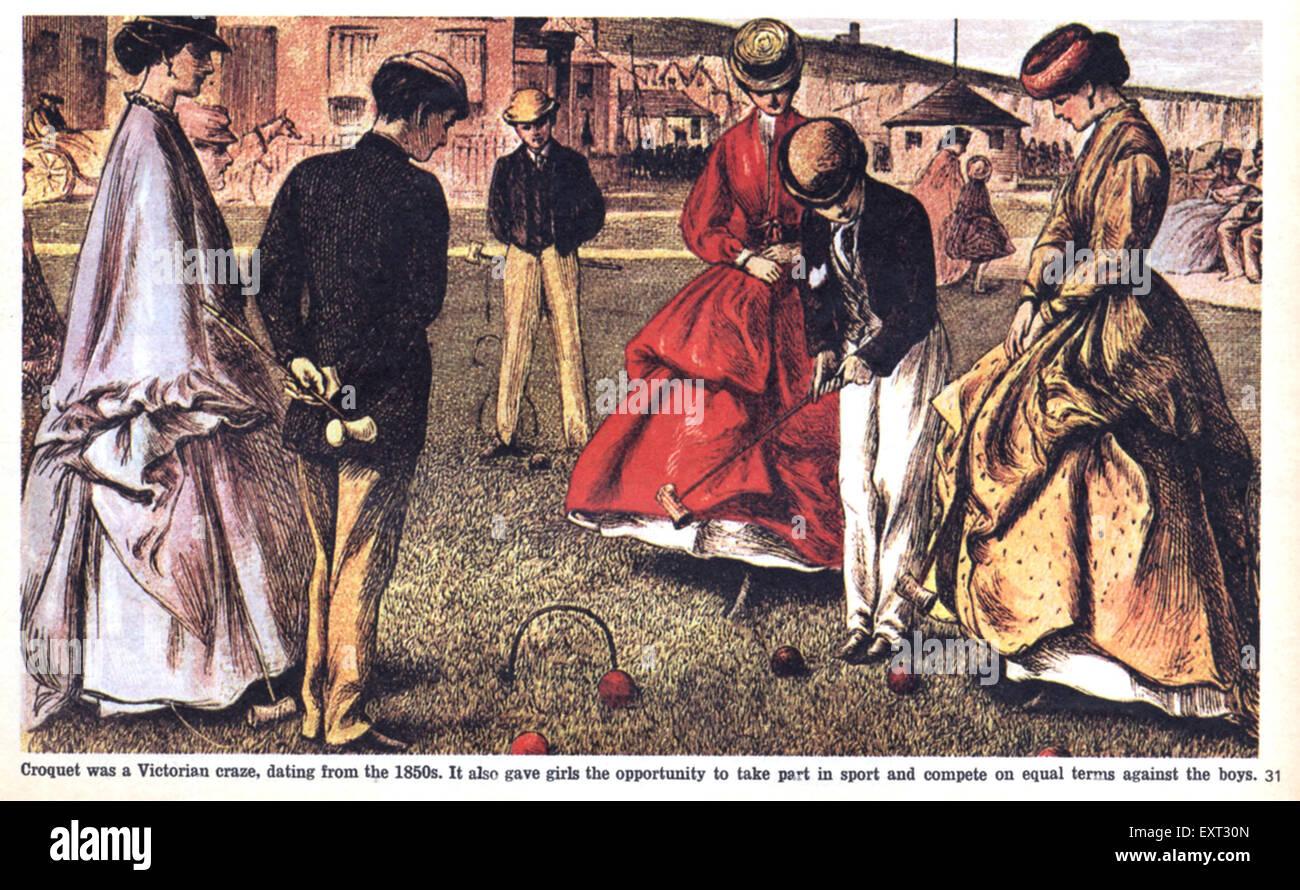 1860s UK Croquet Magazine Plate - Stock Image