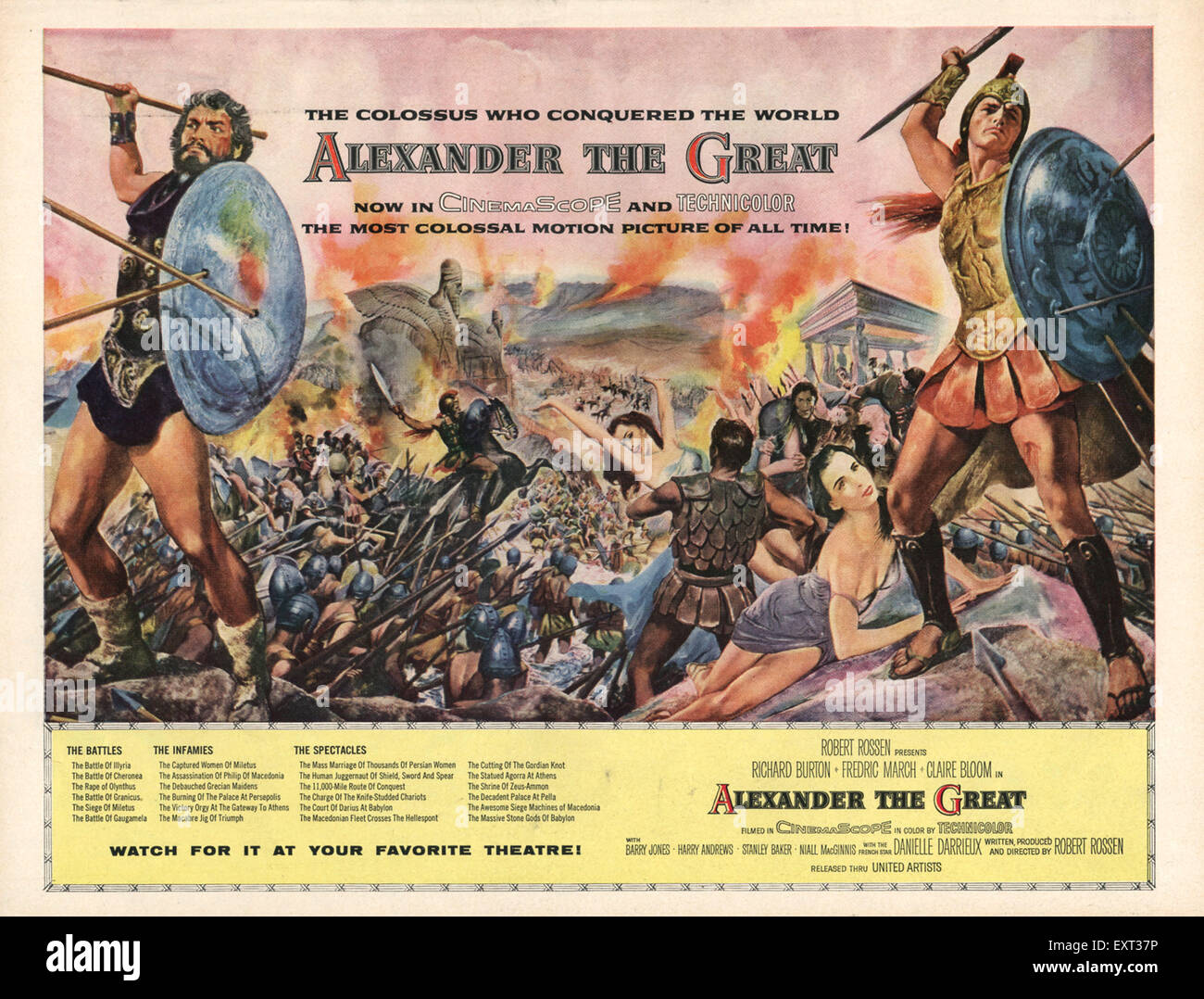 1950s USA Alexander the Great Film Poster - Stock Image
