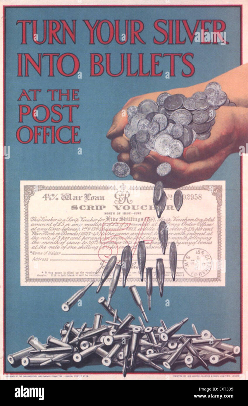 1910s UK Turn your Silver into Bullets Poster - Stock Image