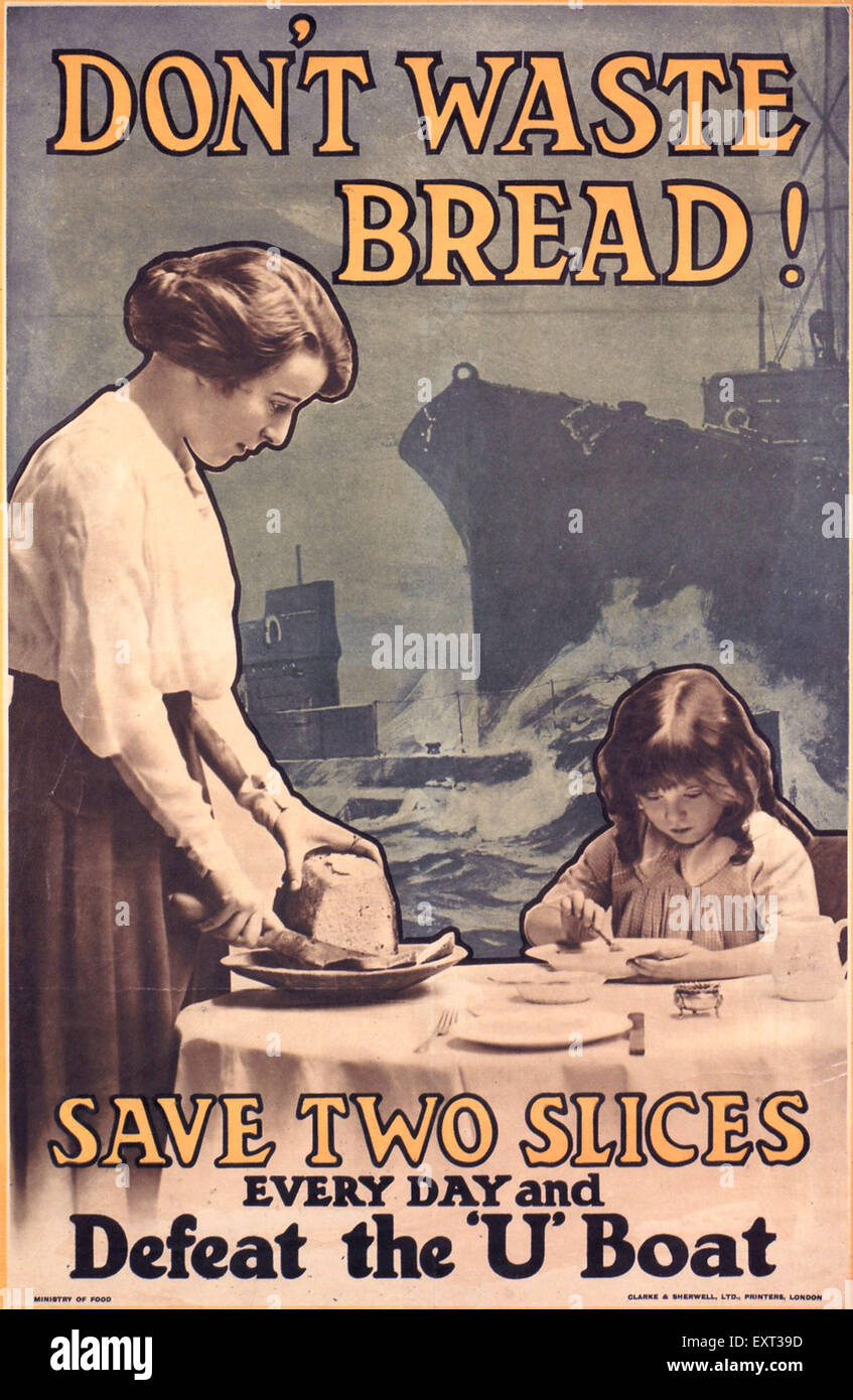 1910s UK Don't Waste Bread Poster - Stock Image