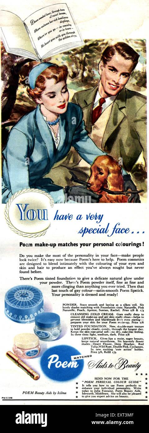 1950s UK Poem Magazine Advert - Stock Image