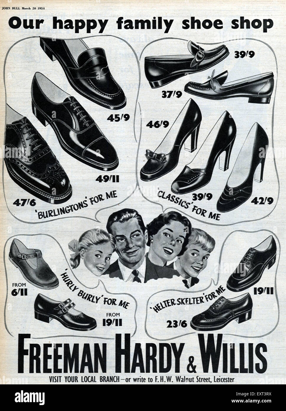 1950s UK Freeman Hardy and Willis Magazine Advert - Stock Image