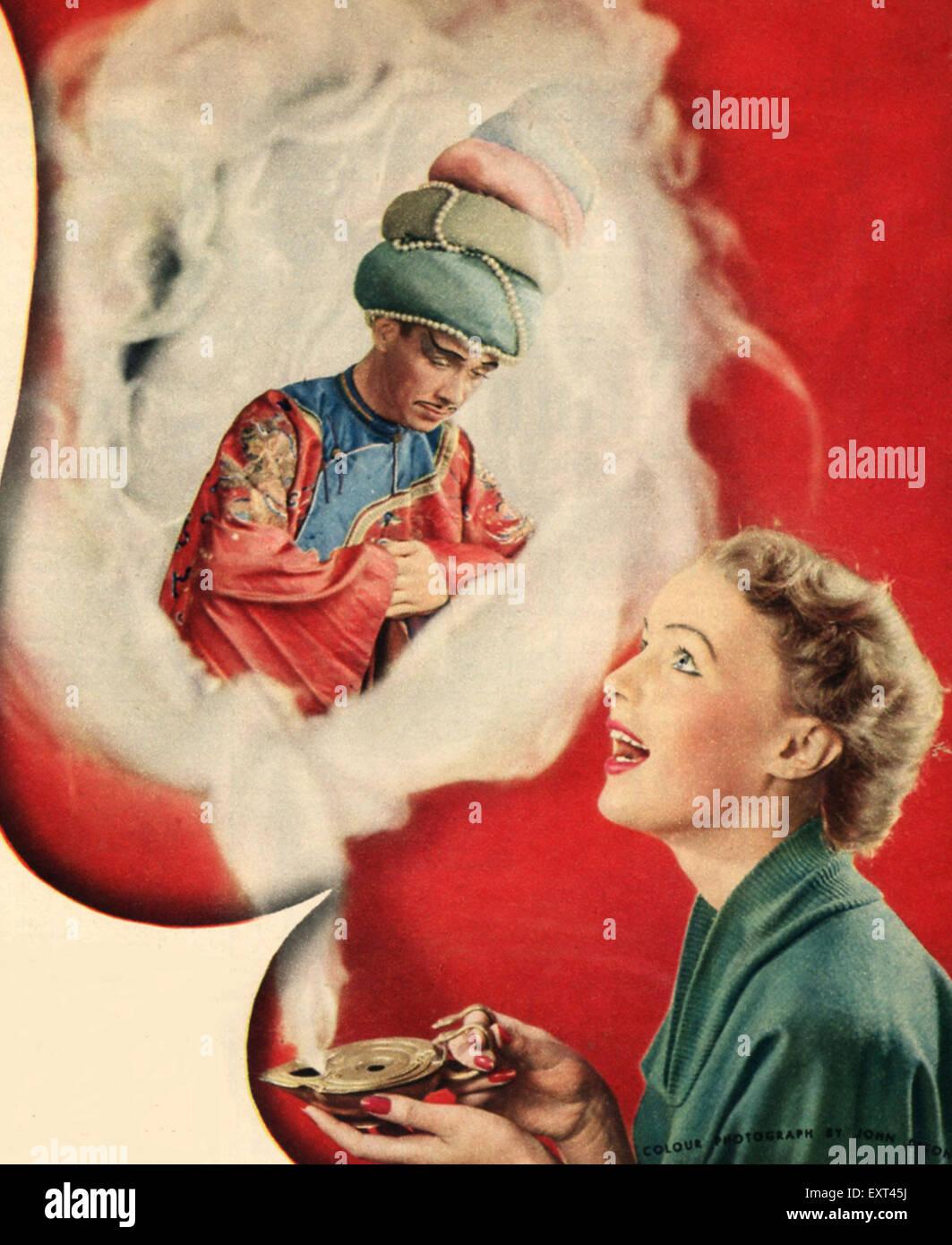 1950s UK Genie and wishes Magazine Plate - Stock Image