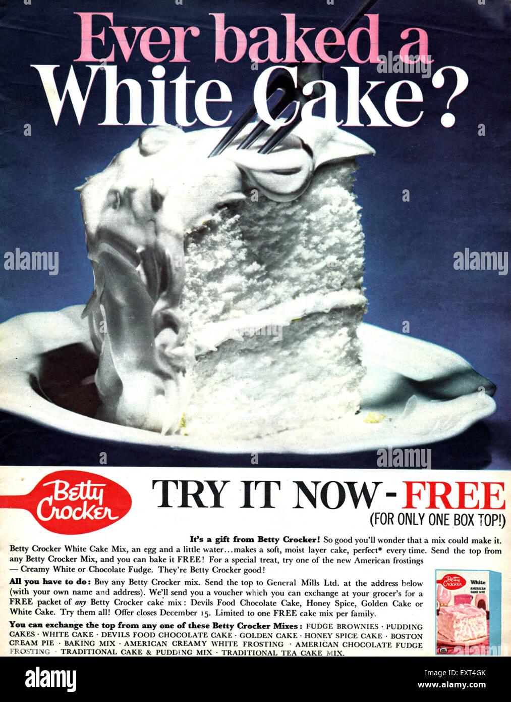 1960s UK Betty Crocker Magazine Advert - Stock Image