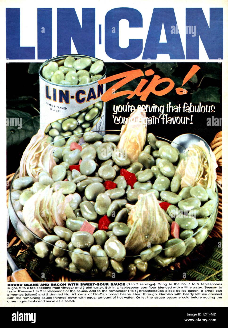 1960s UK Lin-Can Magazine Advert - Stock Image