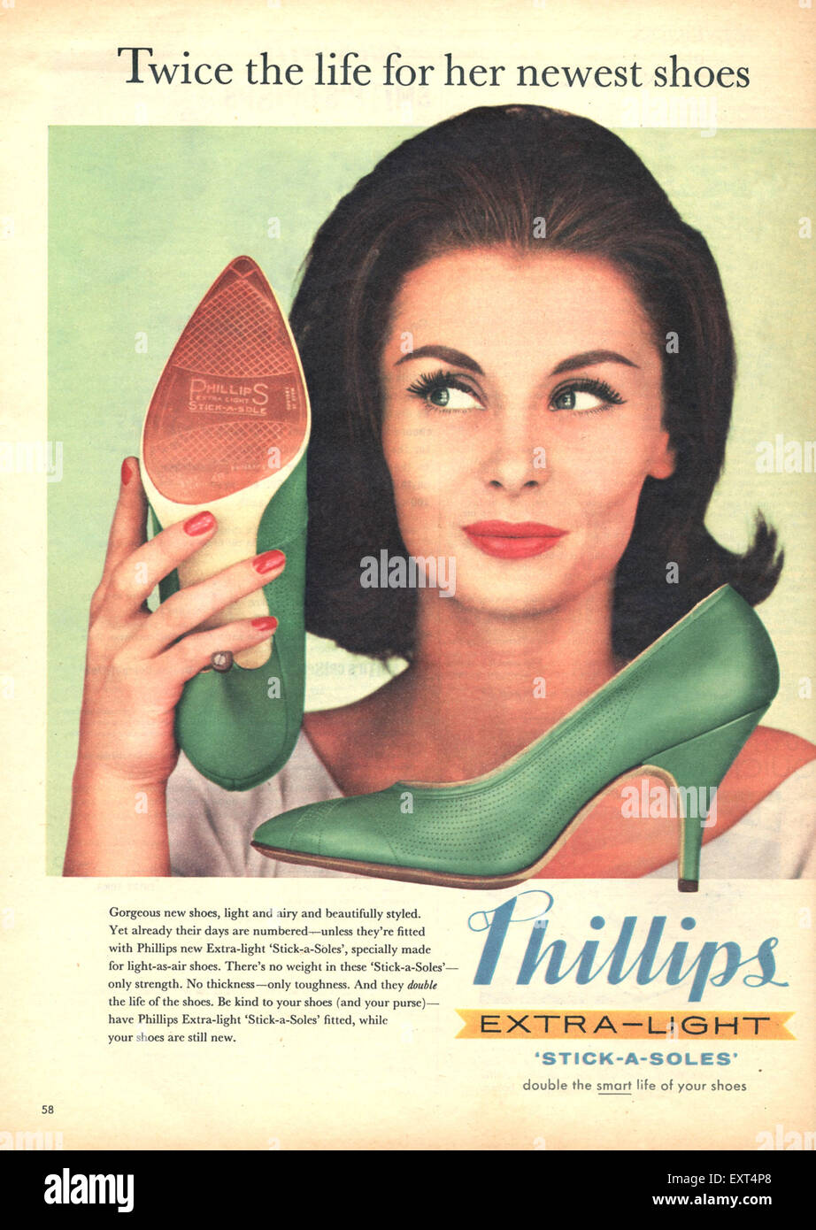 1960s UK Phillips Magazine Advert - Stock Image