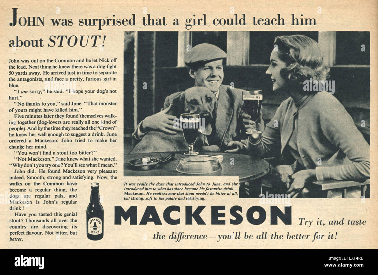 1950s UK Mackeson Magazine Advert - Stock Image